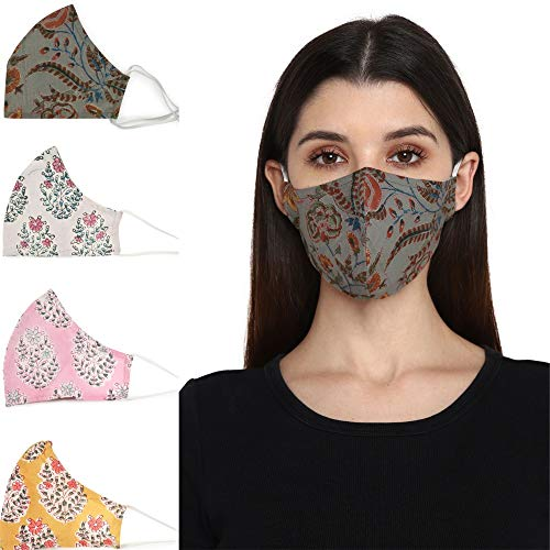 Block Studio Reusable Face covering mask for Adult, Hand Block Print Pack of 4, Anti-Dust Cloth Fashion Cotton Mask, Filter Pocket Adjustable face mask for Women, Washable, Ships from USA (Style 1)