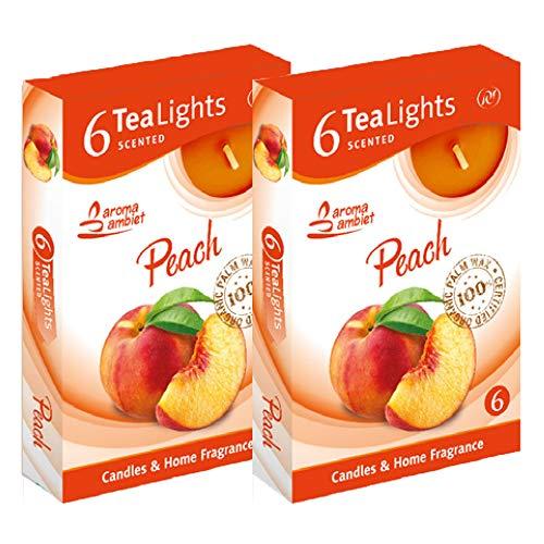 Candele Tealight Profumate 12 unità 3-4h, Fragranza Pesca