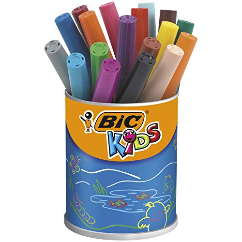 BIC Kids Visacolor XL ECOlutions rotuladores de colores con Punta Ancha – colores Surtidos, Bote de 18 unidades