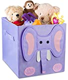 Kids Foldable Cube Storage Bins - These Decorative Animal Fabric Storage Cubes are Collapsible and Great Organizer for Shelf, Closet or Underbed. Convenient for Clothes or Kids Toy Storage.(Elephant)