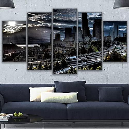 5 Incluso Cuadros Decorativos en Lienzo Lienzo Cuadros modulares Arte Pintura HD Impreso Ciudad Moda para decoración de Sala de Estar Cartel