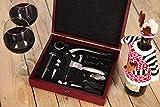 VinoTerra Wein Geschenkset - 9 tlg. Edelstahl Barzubehör Zubehör Geschenk Set Kit für Sommelier - Belüfter, Korkenzieher Weinöffner, Weinthermometer, Folienschneider, Wein Stopfen, Weinausgießer