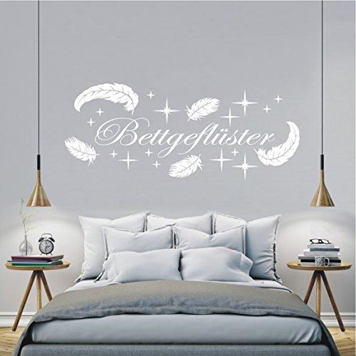 HomeTattoo ® WANDTATTOO Wandaufkleber Bettgeflüster Federn Schlafzimmer Spruch Zitat 553 XL ( L x B ) ca. 58 x 150 cm (schwarz 070)