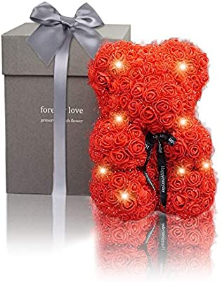 White Valentine s Day Amycute Flower Bear Flower with Gift Box Artificial Preserved Flower Bear Creative Gift for Birthday Anniversary Wedding for Girlfriend Girls