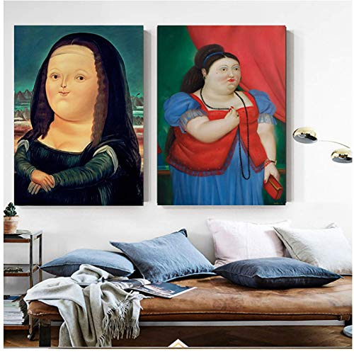 JLFDHR Wall Art Cute Fat Mona Lisa Painting Cartoon Funny Poster Print Big Size Wall Art for Living Room-50x70cmx2 No Frame