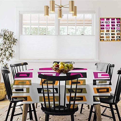 Mantel redondo de 137 cm de diámetro, patrón con cuadrados abstractos con formas interiores en colores de contraste estilo sesenta, multicolor, resistente al polvo para decoración de mesa de cocina.