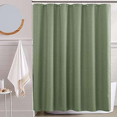 TOPICK Waffel-Duschvorhang Wasserdicht Textil für Badezimmer Antischimmel Dushvorhänge Allmähliches Farbdesign Stoffvorhanghaken mit 12 Hacken 1PC 175x180cm