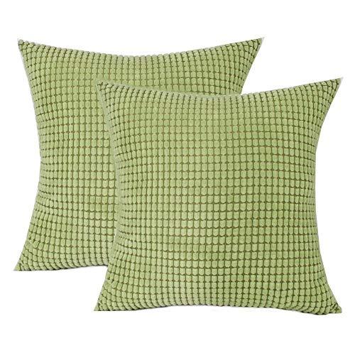 Toruiwa - 2 fundas de cojín (40 x 40 cm, terciopelo, decorativas, funda de almohada para decoración del hogar, dormitorio, salón, oficina, color beige 40 x 40 cm), verde, 45 x 45 cm