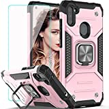 Galaxy A11 Case, Samsung A11 Case with HD Screen Protector,YmhxcY Armor Grade Case with Rotating Holder Kickstand Non-Slip Hybrid Rugged Phone Case for Samsung Galaxy A11-KK Rose Gold