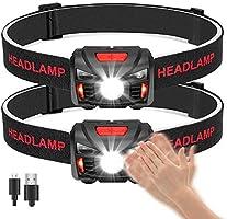 Winzwon USB Wiederaufladbare LED Stirnlampe Kopflampe, Wasserdicht Leichtgewichts Mini stirnlampen Perfekt fürs Laufen,...