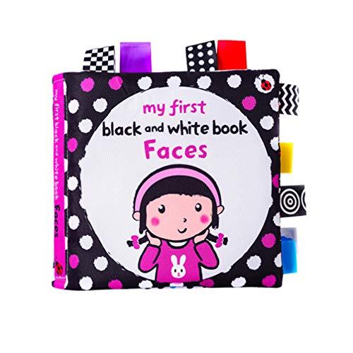 Toyvian 1 Stück Schwarz Weiß Label Tuch Buch Kleinkinder Jungen Und Mädchen Frühen Lernspielzeug Baby Geschenk für Kleinkinder