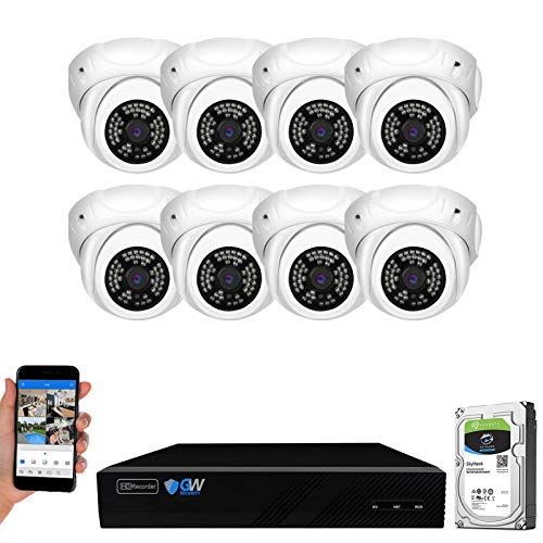 GW Security 8 Channel 4K NVR 5MP H.265 IP Surveillance Security Camera System with 8-Piece Super HD 1920P Weatherproof Video & Audio PoE Security Dome Cameras