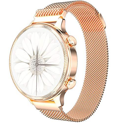 Smartwatch Damen,PHIPUDS elegant und hochwertig, Edelstahl, IP67, wasserdicht, Smartwatch, Fitness-Tracker mit Herzfrequenz, Schlafüberwachung, Kalorien, Schrittzähler, Aktivitäts-Tracker
