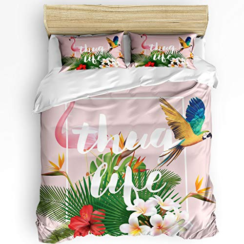 Pink Flamingo and Parrot Thug Life Tropical Palm Leaves Super Soft Microfiber 3-Piece Bedding Set - 1 Duvet Cover with Zipper, 2 Pillowcases Modern Luxury Bedding Duvet Cover Set for Adults Twin