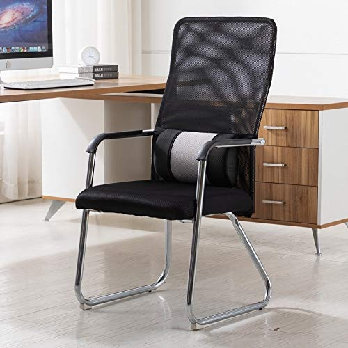 JIXIAO Quality Products Simple Household Mesh Computer Chair Conference Chair Fixed Chair with Waist Cushion (Black) (Color : Green)