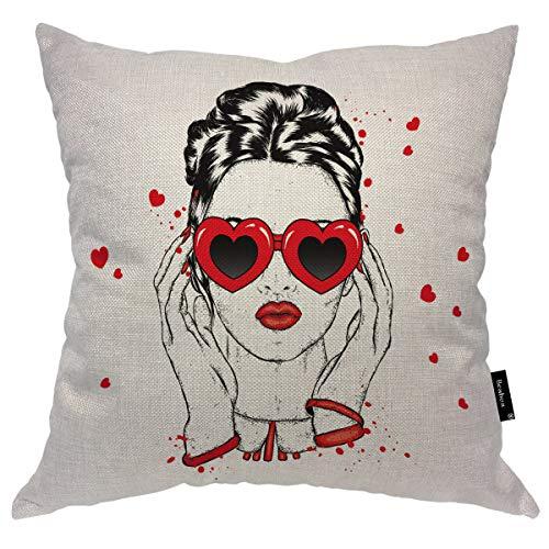 Seemuch Funda de almohada con diseño de mujer en corazón, diseño de labios rojos y pelo largo, de algodón y lino para el hogar, oficina, sofá, silla, dormitorio, 40,6 x 40,6 cm