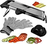 Adjustable Mandoline Slicer for Kitchen, Best Veggie Julienne Cutter Adjusts for Thick or Thin Slices and Includes 6 Built In Blades and FREE Cut Resistant Gloves PLUS Blade Guard