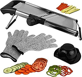 Adjustable Mandoline Slicer for Kitchen Best Veggie Julienne Cutter Adjusts for Thick or Thin Slices and Includes 6 Built In Blades and FREE Cut Resistant Gloves PLUS Blade Guard