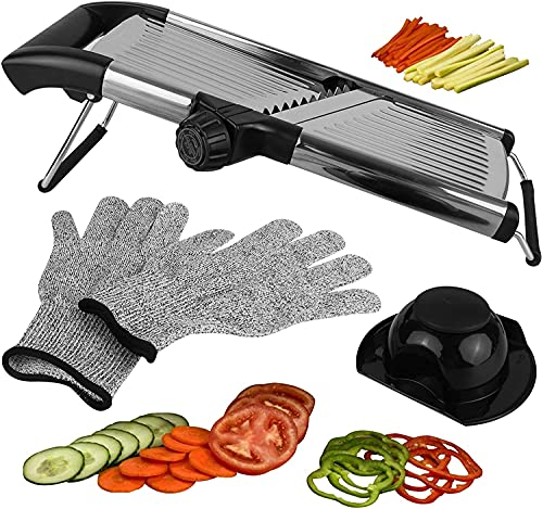 Adjustable Mandoline Slicer for Kitchen, Best Veggie Julienne Cutter Adjusts for Thick or Thin Slices and Includes 6 Built In Blades and FREE Cut...