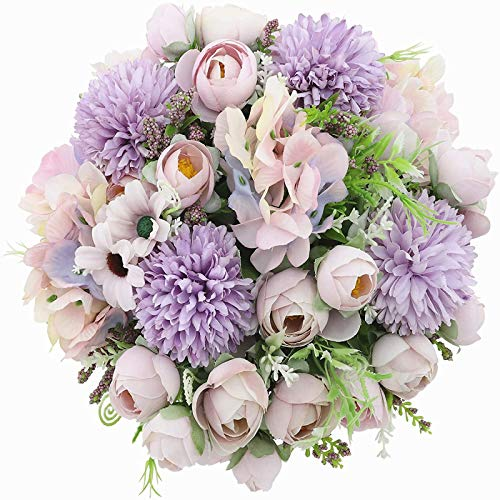 YYHMKB Artificial Peony Silk Hydrangeas Chrysanthemum Carnations All Flower Bouquets For Wedding, Home Office Garden Decoration, 2 Bunches Of Tea Roses- Light Purple