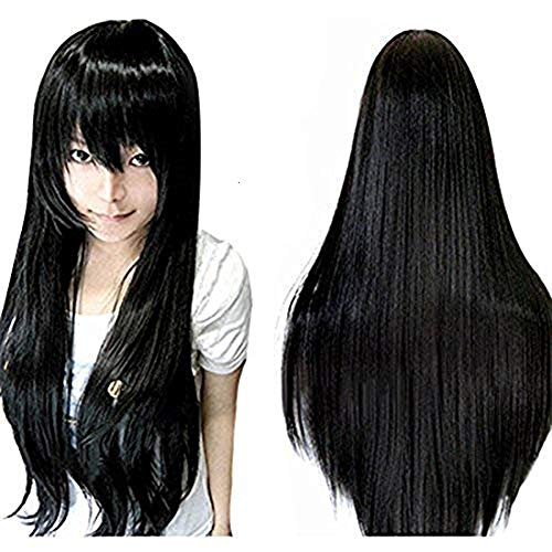 Anogol Long Straight Cosplay Wig Synthetic Wig Black Cosplay Wig for Women Cosplay Wig for Cosplay Party Costume Halloween