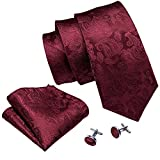 Barry.Wang Mens Ties and Pocket Square Cufflinks Silk Necktie Set Paisley, One Size, Burgundy