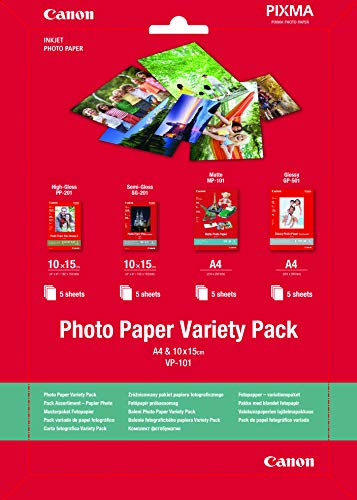 Canon Fotopapier VP-101 Musterpaket Postkarte - 10x15cm, 20 Blatt für Tintenstrahldrucker