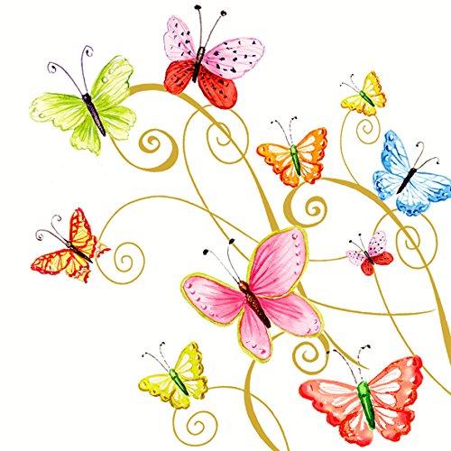 20 Servietten 33 x 33 cm Schmetterlinge bunt Butterfly Butterflies Sommer Tier Geburtstag