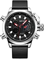 Megir mens quartz watch chronograph display and stainless steel strap 2010