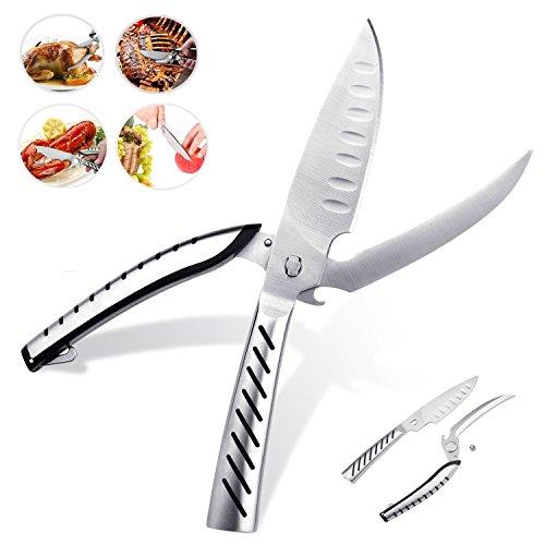 Miusikit Multifunktions Utility Küchenschere, Edelstahl Heavy Duty Schere mit scharfen Klinge für Huhn, Geflügel, Fisch, Fleisch, und BBQ 's mit Flaschenöffner und Schneidebrett Messer.