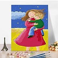 数字で描く抽象的な漫画の子供たちキット手描きの家の装飾の描画キャンバスDIYオイルカラーリング数字で描く写真D40X50MM(フレーム付き)