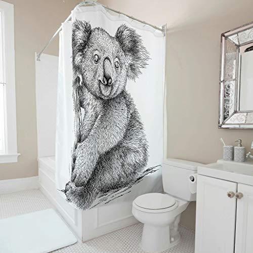 Dofeely douchegordijn, koala-patroon, antibacterieel, milieuvriendelijk, gordijn, badgordijn, voor badkamer