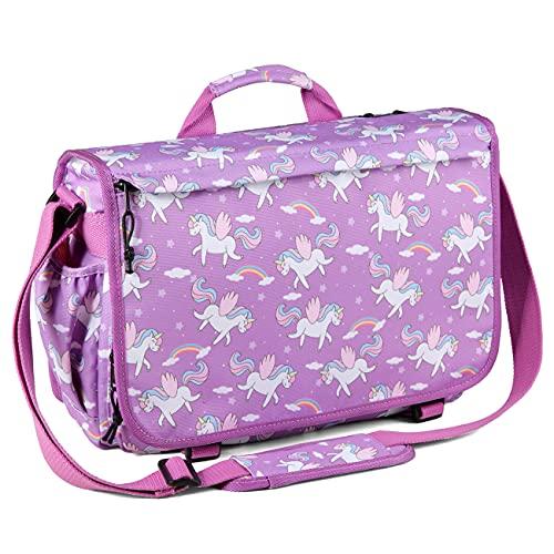 Messenger Bag for Kids,VASCHY Cute 15.6inch Laptop Crossbody School Bag for Boys Girls Teens Women Unicorn