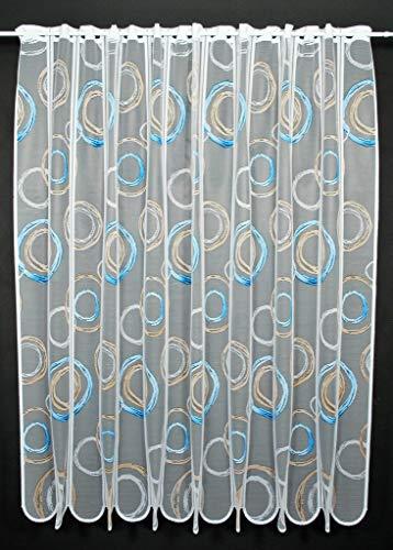 Cortina de media altura garabato altura 120 cm   Ancho de la cortina seleccionable por la cantidad comprada en pasos de 11 cm   Color: blanco con azul marrón / luz   Cortinas cocina