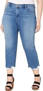 I.n.c. Plus Size Lace-Trip Cropped Skinny Jeans Blue Size 14W