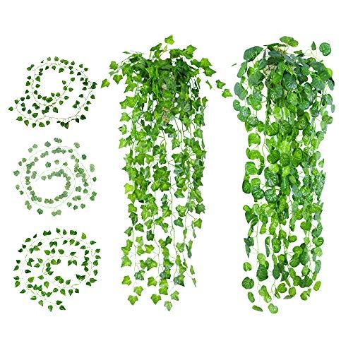 Gwolf Efeu Girlande, 10 Stück Efeu Künstlich, Künstlicher Efeugirlande, Efeu Hängepflanzen Kunstpflanze, Künstliche Pflanzen Künstliches Efeu Hochzeit für Büro, Küche, Garten, Party Wanddekoration