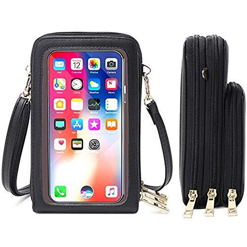 Handy Umhängetasche, WLHGH Crossbody Touchscreen Tasche Kleine Crossbody Brieftasche Handtasche mit Kreditkartenfächern, Handy Geldbörse Passt Telefon unter 6.5 Zoll (Schwarz)