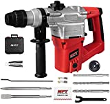 MPT 1 Inch SDS-Plus 1050W Heavy Duty Rotary Hammer Drill,3 Function and Adjustable Soft Grip Handle,Include 3 Drill Bits,Point and Flat Chisel with Case