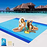 AISPARKY Beach Blanket, Beach Mat Outdoor Picnic Blanket Large Sand Proof Compact for 4-7 Persons Water Proof and Drying Mats Nylon Pocket Picnic for Outdoor Travel (Blue Blue(78' X 81'))