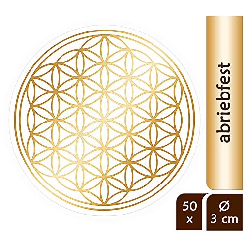 atalantes spirit Blume des Lebens Aufkleber 3cm, 50 Stück Abriebfest - Farbe Gold - Folie transparent Sticker Lebensblume