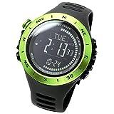 [ラドウェザー]デジタル時計 温度計 歩数計 100m 防水時計 (グリーン反転)