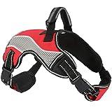 ACE2ACE Hundegeschirr, Anti Zug Einstellbar Brustgeschirr, No Pull Laufgeschirre für Hunde, Reflektierend Atmungsaktiv sicherheitsgeschirre, für Mittlere Hunde, Große Hunde Welpe, M (Rot)