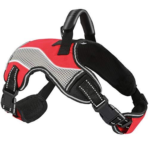 ACE2ACE Hundegeschirr, Anti Zug Einstellbar Brustgeschirr, No Pull Laufgeschirre für Hunde, Reflektierend Atmungsaktiv sicherheitsgeschirre, für Mittlere Hunde, Große Hunde und Welpe, M (Rot)