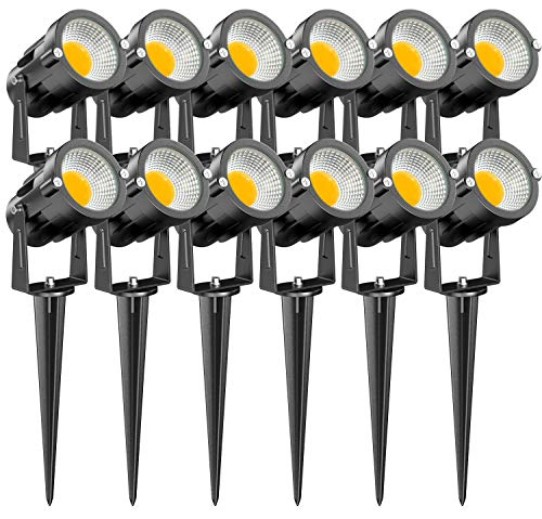 15W Low Voltage Landscape Lights, LEDVIE 12 Pack LED Landscape Lighting Outdoor 12V Warm White LED Landscape Lights Waterproof Garden Pathway Lights Wall Tree Flag Spotlight with Spike Stand