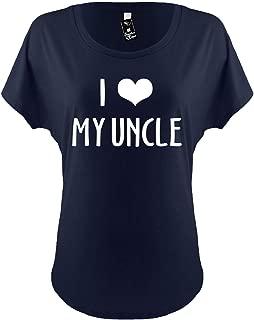 Womens Funny Dolman T-Shirt Ladies Tee (I Love (Heart) Novelty My Uncle) Novelty