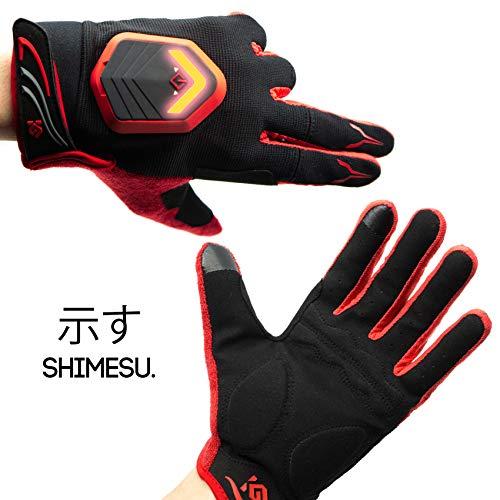 Shimesu Fahrradhandschuhe mit LED Fahrradbeleuchtung | Handschuhe Rot Lang Winter Vollfinger Männer Damen mit Fahrtrichtungsanzeiger |...
