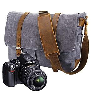59a38344b6 Y-DOUBLE Borsa di tela impermeabile a tracolla grande per fotocamera e  accessori for Sony Nikon Olympus Canon EOSY-DOUBLE Borsa di tela  impermeabile a ...