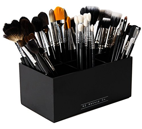 N2 Makeup Co Makeup Brush Holder Organizer - Multiple Slot Acrylic Cosmetics Brushes Storage Solution (6 Slot Holder)