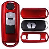 Auto Schlüssel Cover Hülle für Mazda 2 3 6 CX-3 CX-5 MX-5 Smartkey 2/3 Taster/Farbe: Metallic Rot