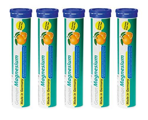 Magnesium Brausetabletten 5x20 Stk. Orangengeschmack – 200 mg Magnesium Zuckerfrei – T&D Pharma German Magnesium – Made in Germany